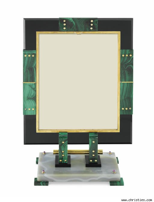 Jesse Woolworth Monahue Art Deco Malachite, Onyx, and Enamel Picture Frame by Ostertag