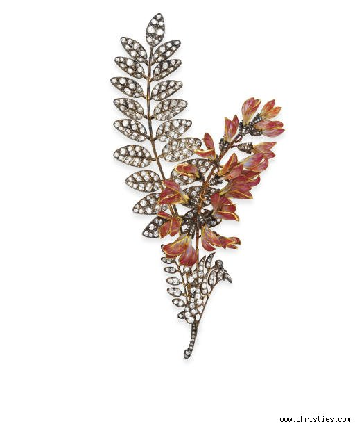 Antique Diamond and Enamel Corsage Brooch by Boucheron
