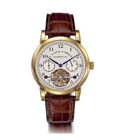 A. Lange &amp; Sohne Ltd. Edition Gold Tourbillon with Power Reserve, $145,000.