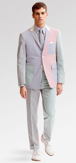 Patchwork seersucker suit.