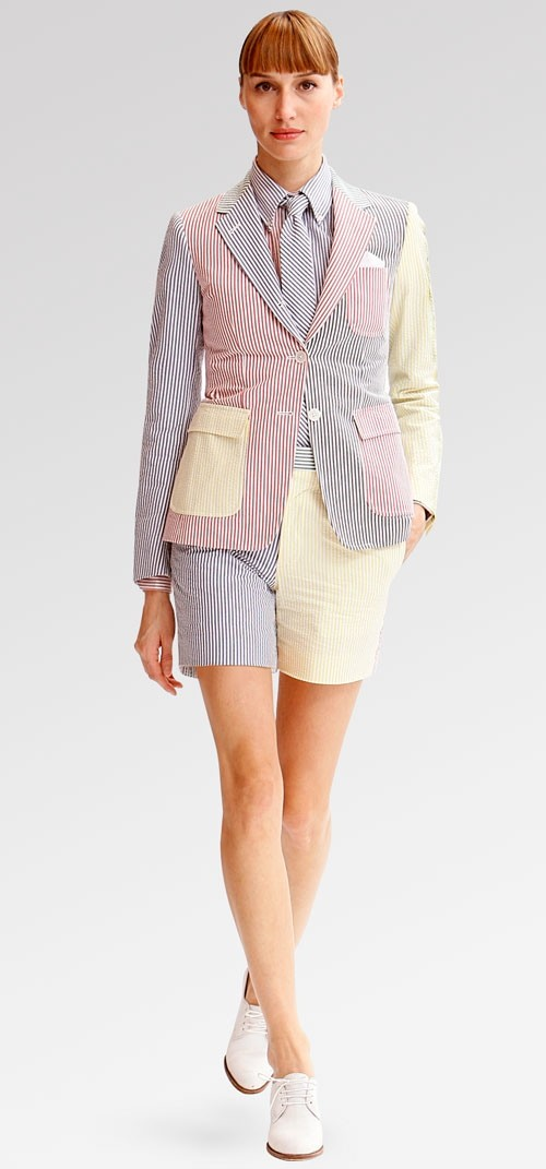 Patchwork seersucker shorts suit.