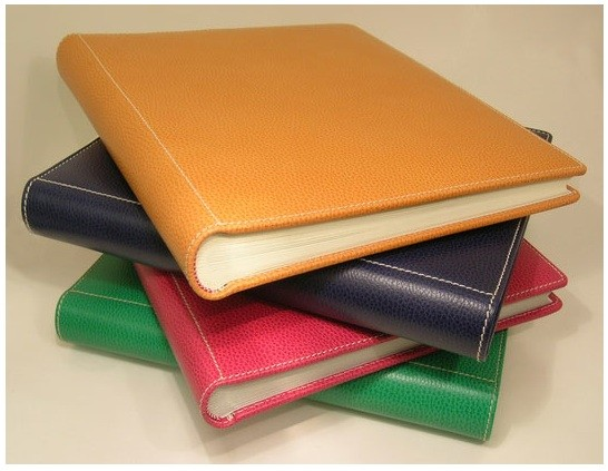 Grained leather photo albums.
