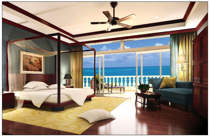 Estate bedroom rendering.
