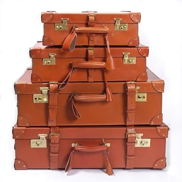 Traditional leather luggage.