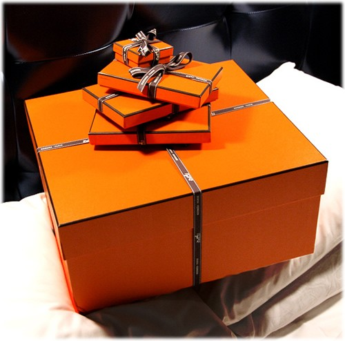 Classic orange Hermes boxes.