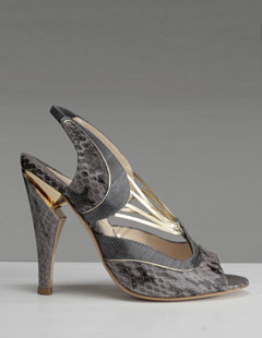 Nicholas Kirkwood Grey/Gold Snake Pumps