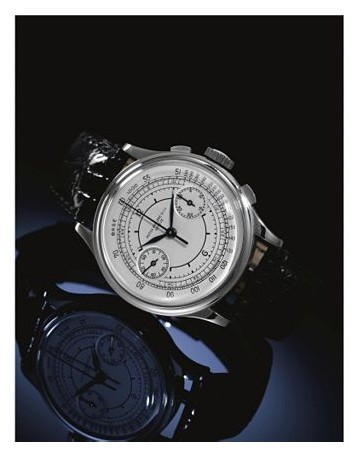 Stainless steel chronograph.