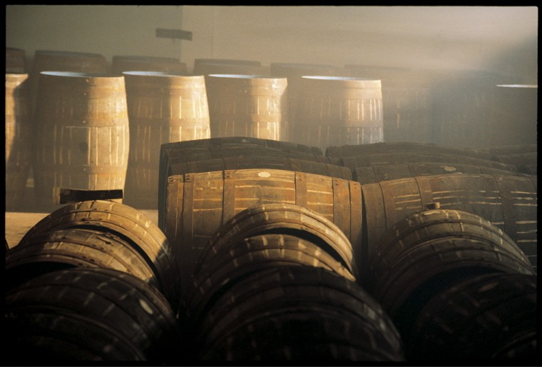 Oak barrels at the distillery.