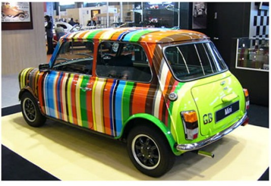 A Paul Smith designed Mini Cooper.