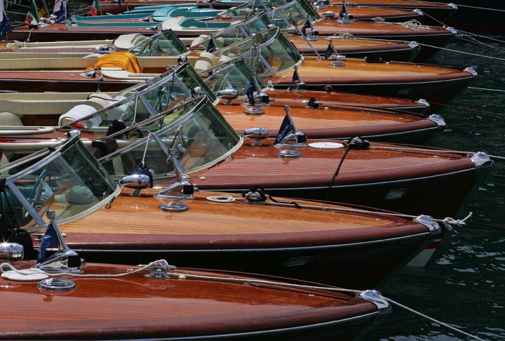 Classic wooden Riva speedboats.