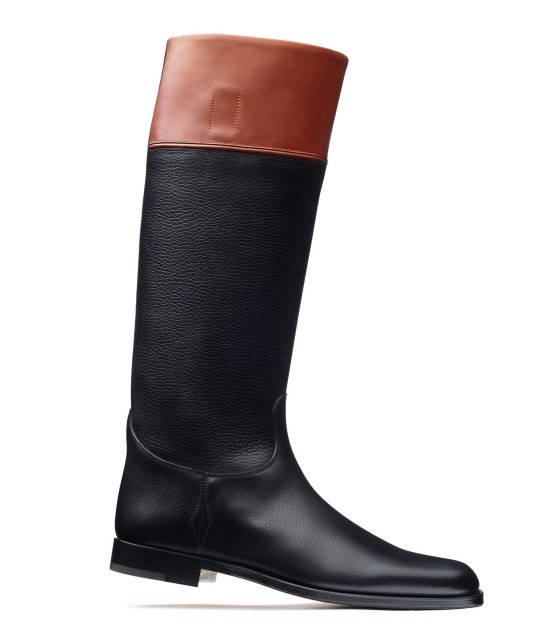 Terrefort riding boot in black and tan calf.