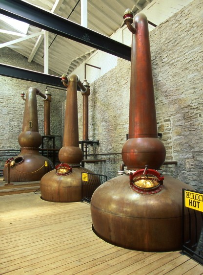 Copper pot stills.