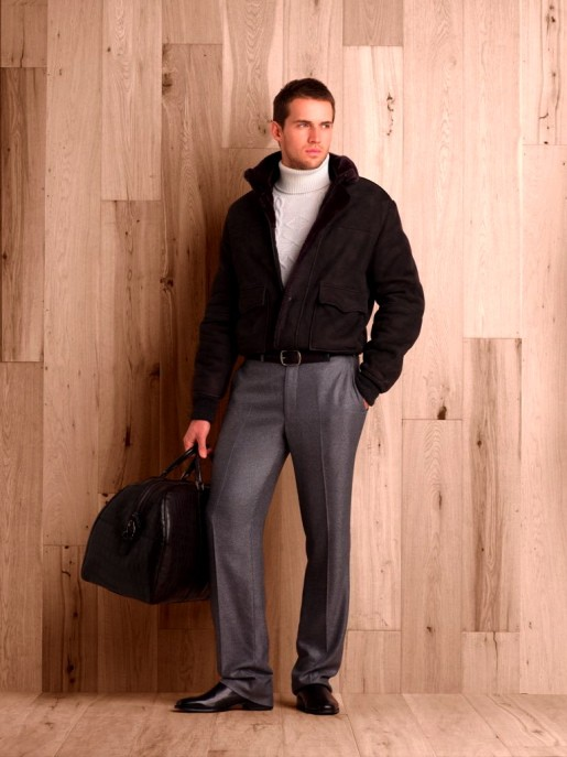 Charcoal sueded merino lambskin jacket.