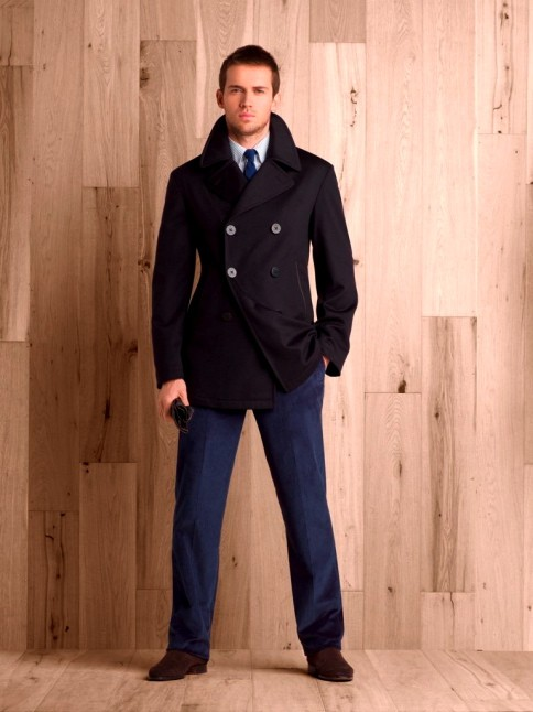 Dark navy wool/cashmere 'lotus finish' pea coat.