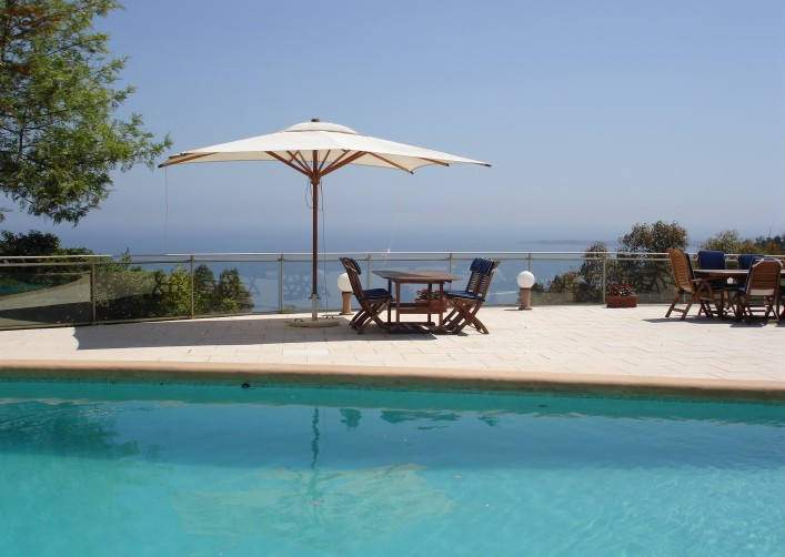 The villa's pool with ocean view