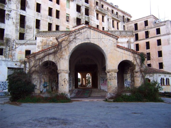 The dilapidated entrance.