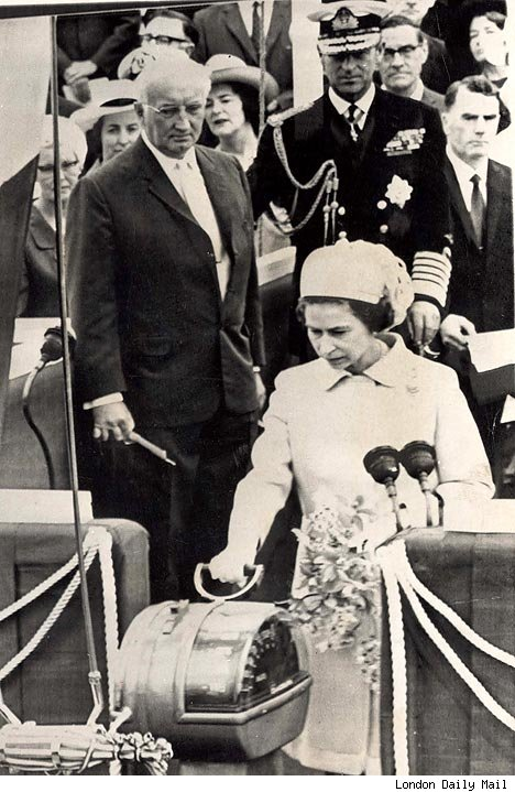 Queen Elizabeth II launching the liner in 1967