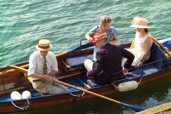 Henley spectators having a Pimm's afloat
