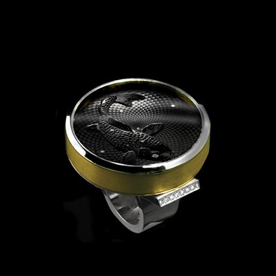 Guilloche Noir Artisan Ring