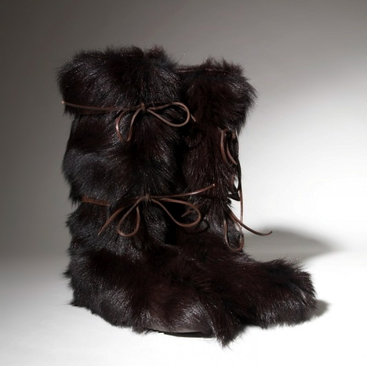 Chocolate Brown Kid Fur Boots           