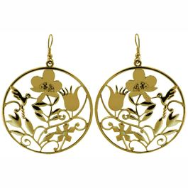 Cut out Garden Scene Earrings in Gold