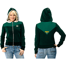 Touch By Alyssa Milano Green Bay Packers Women's Full Zip Hooded Fleece with Sherpa