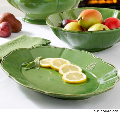 Antiqued Green Italian Ceramic Platter
