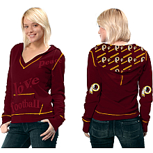 Touch By Alyssa Milano Washington Redskins Women's Deep V-Neck Pullover Fleece