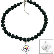 Touch By Alyssa Milano Pittsburgh Steelers Black Glass Bead Metal Logo Pendant