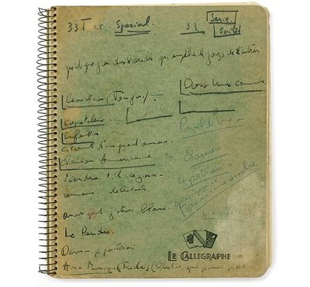 Jacques Brel's notebooks