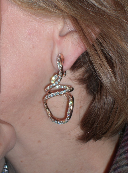 Rose Gold and Diamond Swizel Earrings