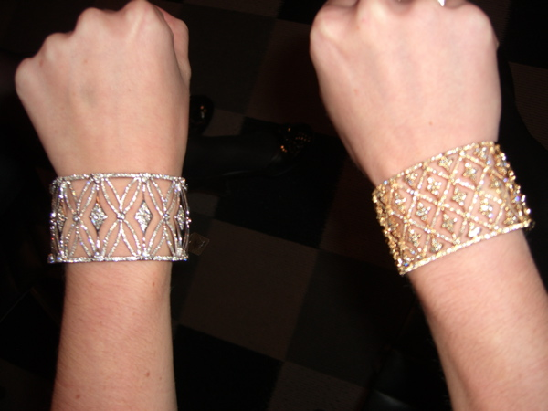 Criss Cross Diamond Cuff and Gold and Diamond Lattice Cuff (left to right)