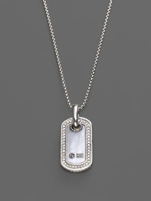 Diamond Pave Dog Tag Necklace