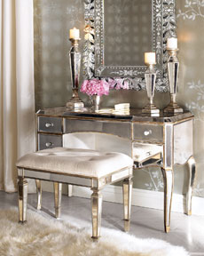 Mirrored Vanity and Vanity Seat
