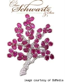 Diamond and Pink Sapphire Cherry Blossom Brooch