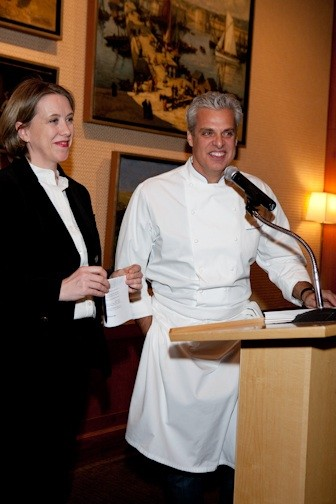 Jilly Stephens, Executive Director of City Harvest, and Chef Eric Ripert, Le Bernardin