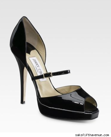 Jimmy Choo Patent Peep-Toe Mary Janes