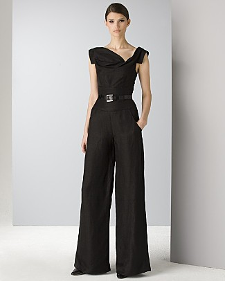 Black Halo Belted Jackie O Jumpsuit