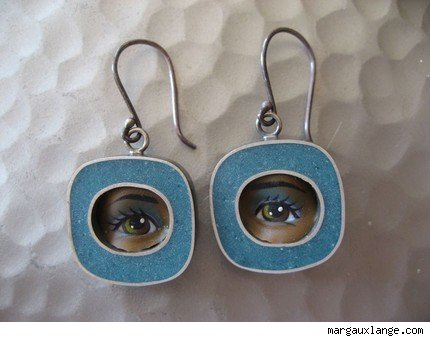 Teal Square Eye Earrings