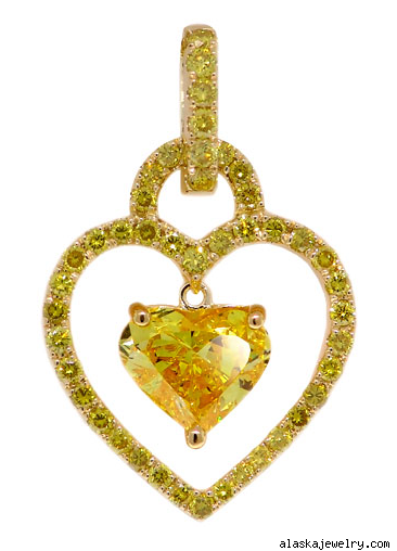 Pintura Yellow Diamond Heart Pendant
