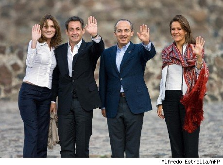 nicolas sarkozy and carla bruni. sarkozy and calderon in mexico