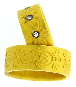 Hand crafted 24kt yellow gold rings with floral motif, with and without diamond accents