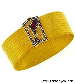 Atelier Minyon 22kt gold mesh cuff with ruby and diamond accents