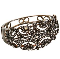 Hand crafted 18kt blackened gold bangle with rose cut diamonds