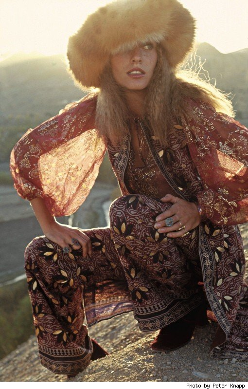 Model in Gypsy-inspired garb from French Elle, 1970.