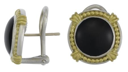 Column Bellus Omega Earrings in SS and 18kt and Onyx