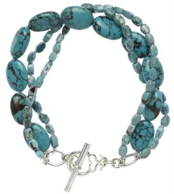 Mixed triple strand turquoise bracelet w/ silver toggle