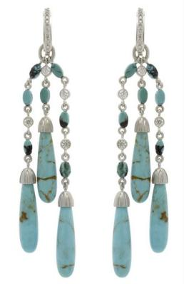 Long triple strand drop turquoise earrings in SS and pave diamonds