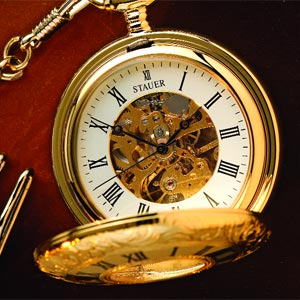Skeleton Silver-Tone Pocket Watch by Akribos XXIV - Watches For Men