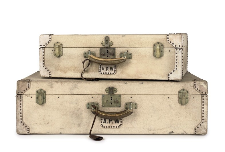 Hermes canvas and leather suitcases